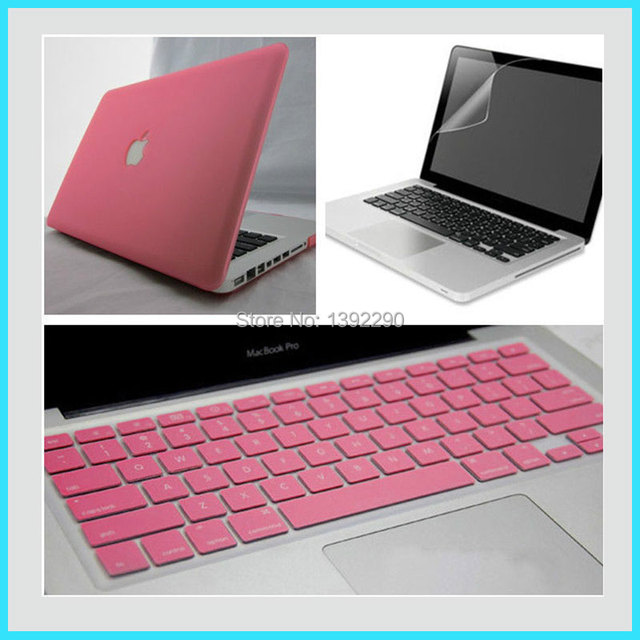 outlet store cb6aa e4b4a US $13.99 |3 in1 Pink Rubberized Hard Case Cover For Macbook AIR 13  inch+Screen protector+Keyboard cover-in Mobile Phone Accessory Bundles from  ...