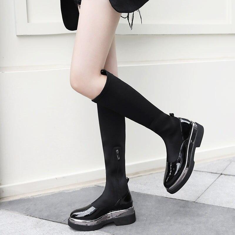 Plataforma Cuero Elástico black Tacones Zapatos Vankaring Para Black Las Tobillo Botas Altos Invierno Cuadrados Long Tejido Mujeres Genuino De Otoño Short Mujer SYxwFxTq