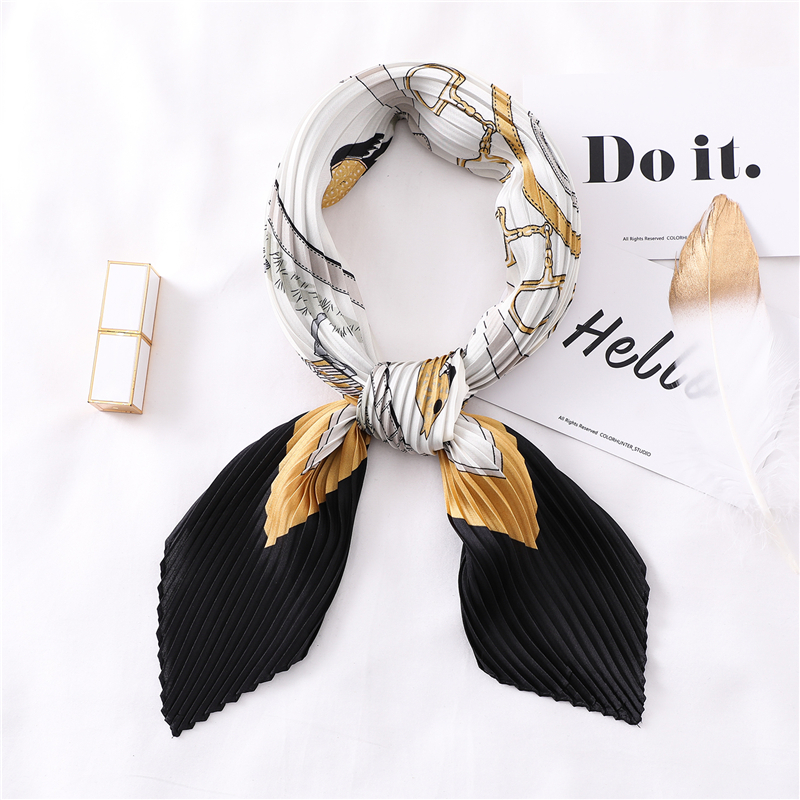 Women Square Silk Hair Neck Scarfs For Ladies Crinkle Scarf Office Lady Neck Scarves Tie Animal Print Headwear