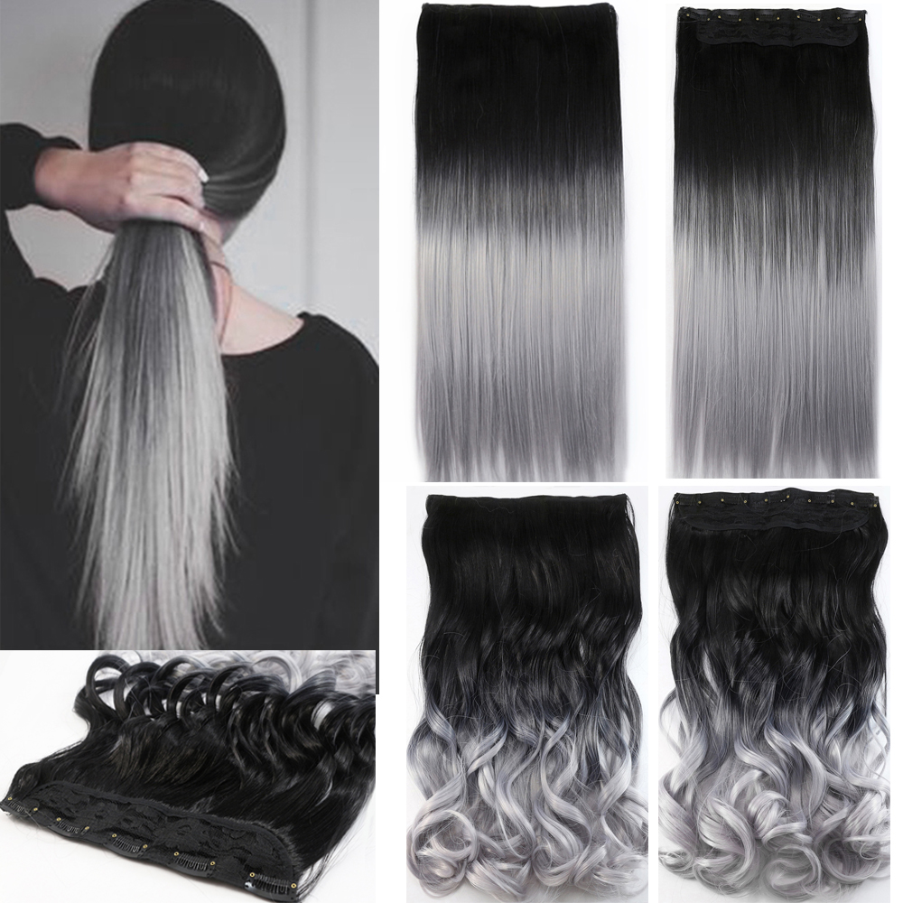 One piece hair pad 24inch 60cm lady women hairpieces straight black to silver grey ombre color