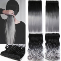 One Piece Hair Pad 24inch 60cm Lady Women Hairpieces Straight Black to Silver Grey Ombre Color Clip In On Hair Extensions B20