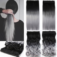 One piece hair pad 24inch 60cm lady women hairpieces straight black to silver grey ombre color.jpg 200x200