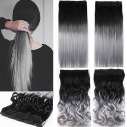 One piece hair pad 24inch 60cm lady women hairpieces straight black to silver grey ombre color.jpg 250x250