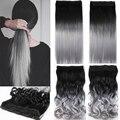 Una Pieza de Pelo Pad 24 pulgadas 60 cm Señora Mujeres Postizos Recta Negro a Silver Grey Clip En Las Extensiones Del Pelo Ombre Color B20