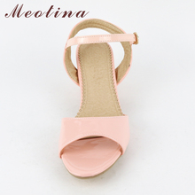 Meotina Women Sandals 2018 Summer Shoes Sandals Size 9 10 Open Toe Ladies Chunky High Heels Sandals White Pink Green Shoes 34-43