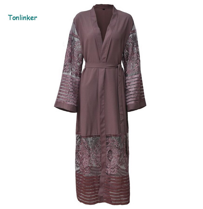 Tonlinker 2018 new Women mesh Muslim Dress Maxi Dubai Abaya Jalabiya Islamic Spring Women Lace Dress Malaysia India Clothing