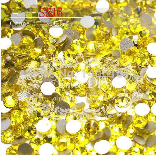 1440 pc/bag SS16 4mm Citrino Amarelo Não HotFix Natator Pedrinhas, Vidro Glitter Glue-on Solto DIY Prego Cristais de arte Pedras 16ss