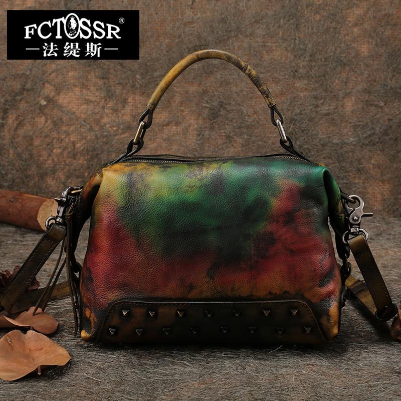 2018 Women Bags Genuine Leather Big Handbags Vintage Female Shoulder Bag Rivet Cow Leather Women's Crossbody bag Messenger Bags цена