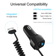 Car Charger FAST Rapid Type Micro USB Charging LED Indicator Cigarette Lighter Auto 2.4A Spring Line