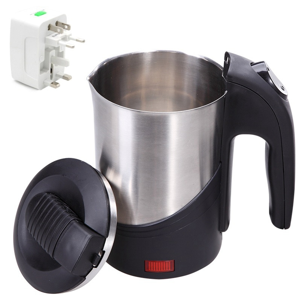 DMWD 110-220V Abroad Travel Stainless Steel Electric Kettle 600ML Portable Mini Electric Pot With 4 In 1 US/UK/EU/AU Plug ConverDMWD 110-220V Abroad Travel Stainless Steel Electric Kettle 600ML Portable Mini Electric Pot With 4 In 1 US/UK/EU/AU Plug Conver