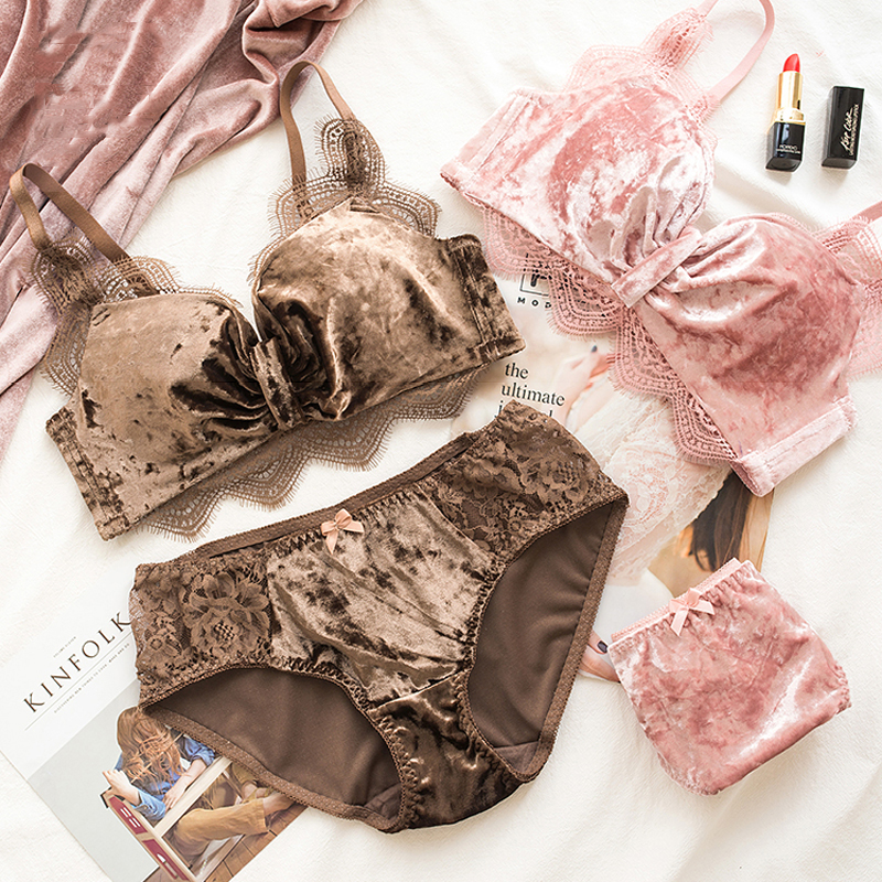 Roseheart Winter New Women Fashion Pink Coffee Lace Bralette Panties Push  Up Bra Sets Underwear Sexy Lingerie Sets Keep Warm-in Bra   Brief Sets from  ... 70e735980