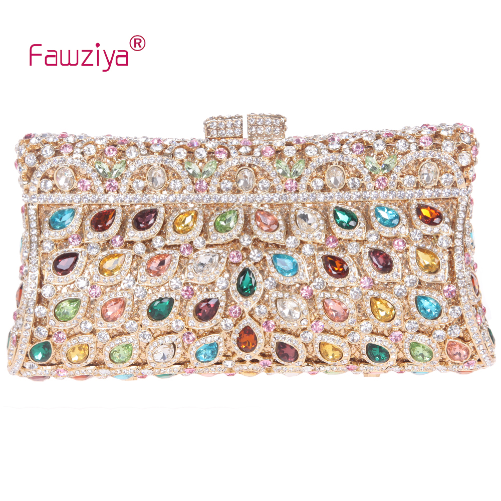 Fawziya Luxury Crystal Clutch Purse Rhinestone Evening Bag