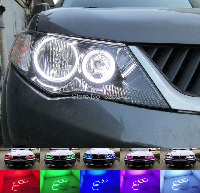 ФОТО For Mitsubishi Outlander 2007 2008 2009 Halogen headlight Excellent Angel Eyes Multi Color Ultra bright RGB LED kit