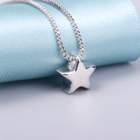 AAA 100% Silver 925 Necklace Shiny Star Necklace Sterling Silver Jewelry Fashion Necklaces & Pendants 02365