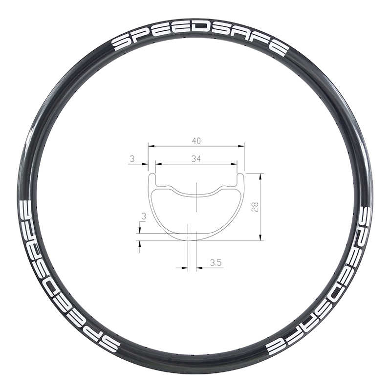 29er vtt AM ENDURO 40mm jante asymétrique en carbone pneu tubeless 28mm de profondeur UD 3 K 12 K mat brillant 24 28 32 trous 29in sans crochet