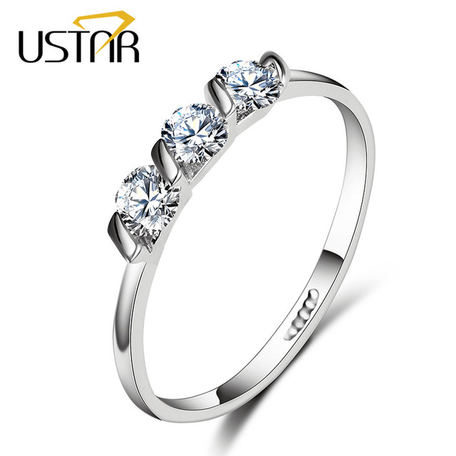 New Zircon Crystals rings for women silver color engagement rings female Anel Wedding Jewelry gifts top quality
