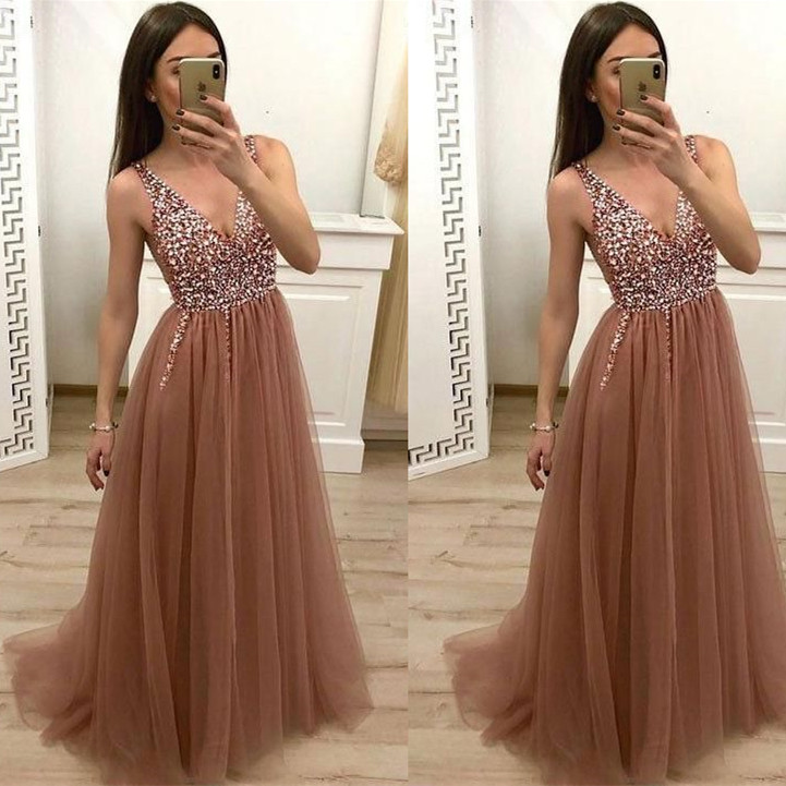 Sexy Deep V Neck   Prom     Dresses   Long 2019 vestidos de fiesta largos elegantes de gala Beaded Tulle Imported Party   Dress