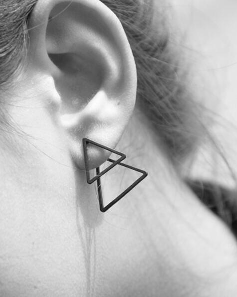 Newest Fashion jewelry copper double Triangle stud earrings best gift for women girl wholesale E241