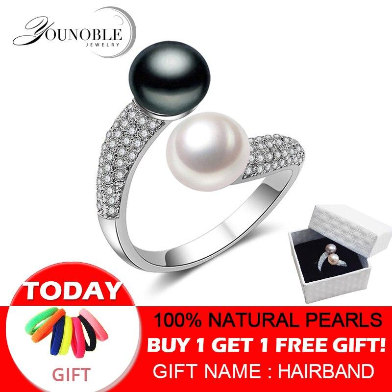 Verdadeiro 925 Sterling Silver Duplo Pérola Anéis Mulheres, AAA Cubic Zircon Moda Jóias Anéis de Casamento Do Vintage Presente Preto Ajustável