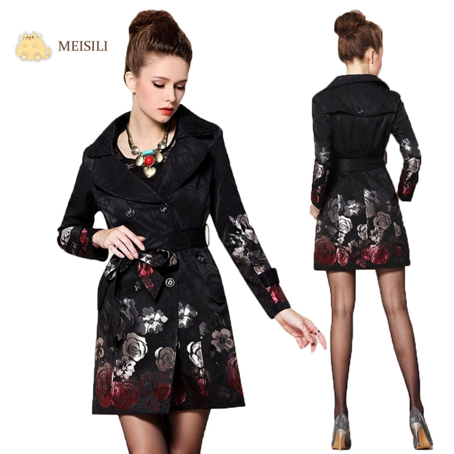 Trench Coat for Women Autumn Long Floral Print Black Jacquard Coat with Belt Turn Down Collar