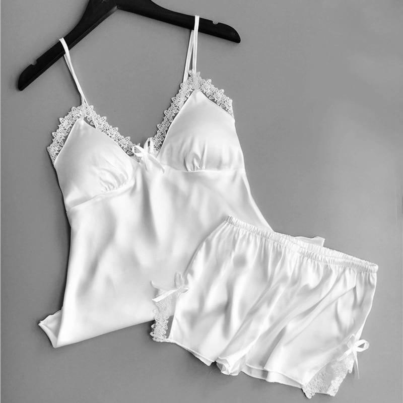 Sexy Stain Silk Pajamas Set for Women Summer Spaghetti Strap Sleeveless Sleepwear pijama Pyjama Femme lingerie