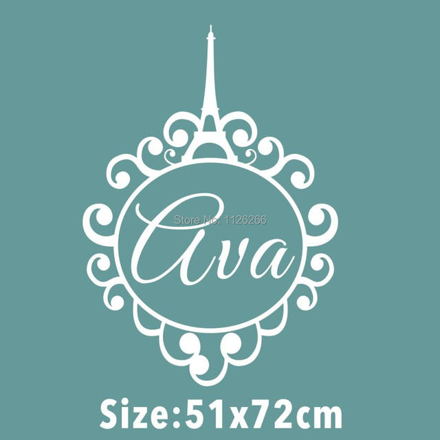 Custom made personalized name monogram paris menara eiffel vinyl dinding decal stiker dekorasi rumah