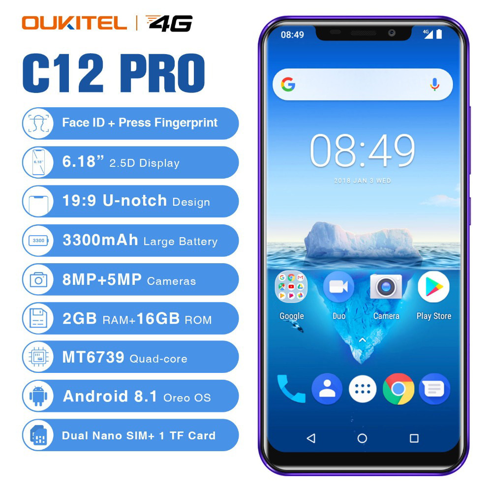 "OUKITEL C12 Face ID 6.18"" 19:9 Smartphone 8MP+2.0MP MTK6580 Quad Core 2GB RAM 16GB Android 8.1 3300mAh Mobile Phone"