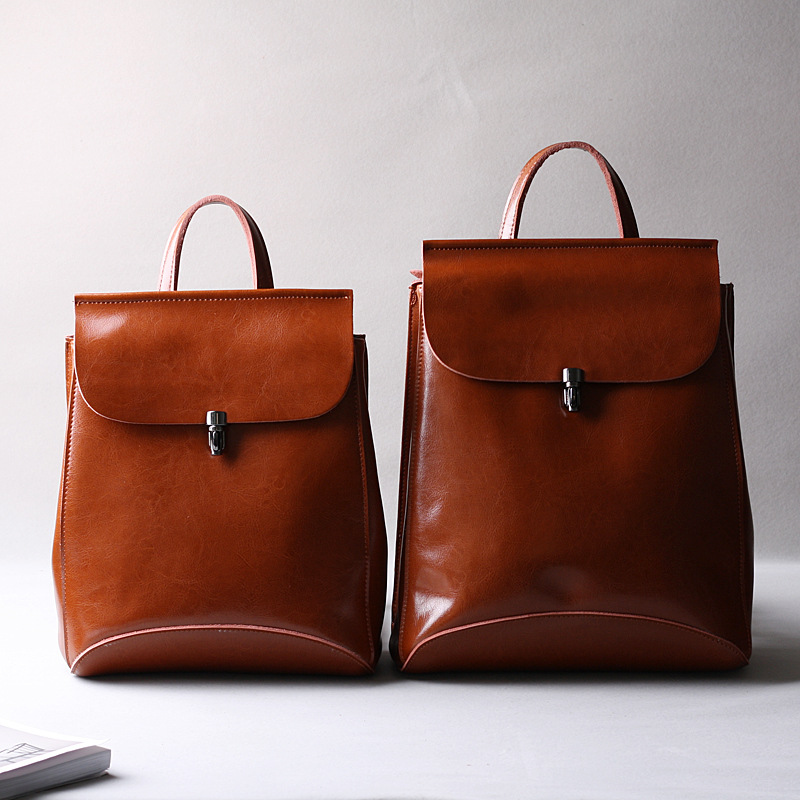 Vintage Female Back Pack High Quality Women Bagpack Oil Wax split Leather Girl College Style Schoolbag