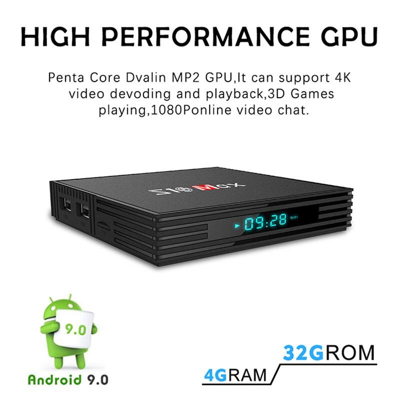 S10 MAX 4GB 32GB Android 9.0 Smart TV BOX Amlogic S905X2 Quad Core décodeur lecteur multimédia Support 5G WIFI BT USB3.0 OTT Box - 4