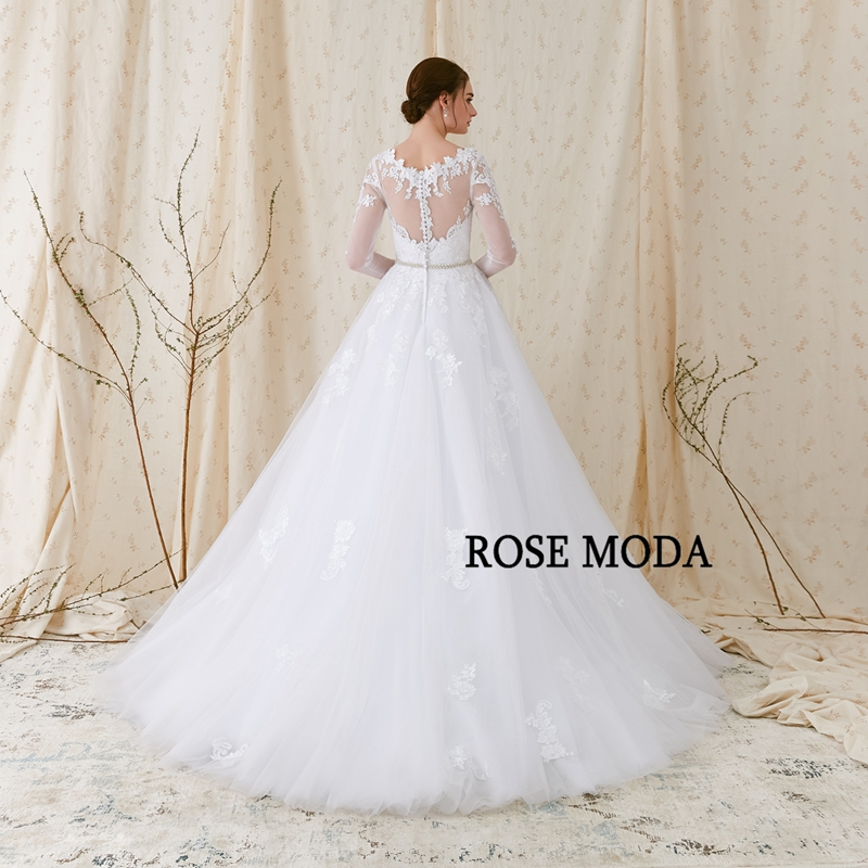 Rose Moda lange mouwen trouwjurk V-hals witte kanten trouwjurken met - Trouwjurken - Foto 3