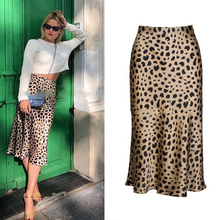 HOT!!19mm 100% Silk Satin Leopard Print Women The Naomi Wild Things Elastic High Waist Side Easy 90s Slip Midi Skirt YH200