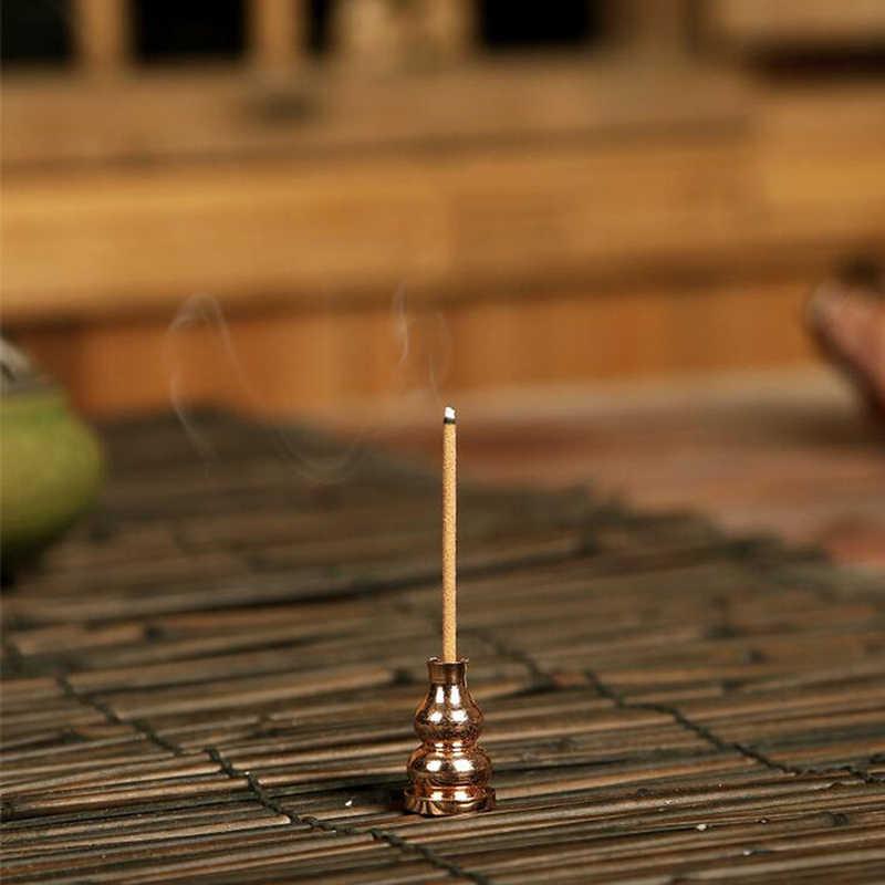 Vintage en laiton porte-brûleur d'encens bouddha chinois pour bâton d'encens bobine bouteille gourde en forme de porte-encens en cuivre