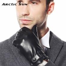 2014 NEW style winter men leather gloves thicken warmth Genuine fashion wrist sheepskin