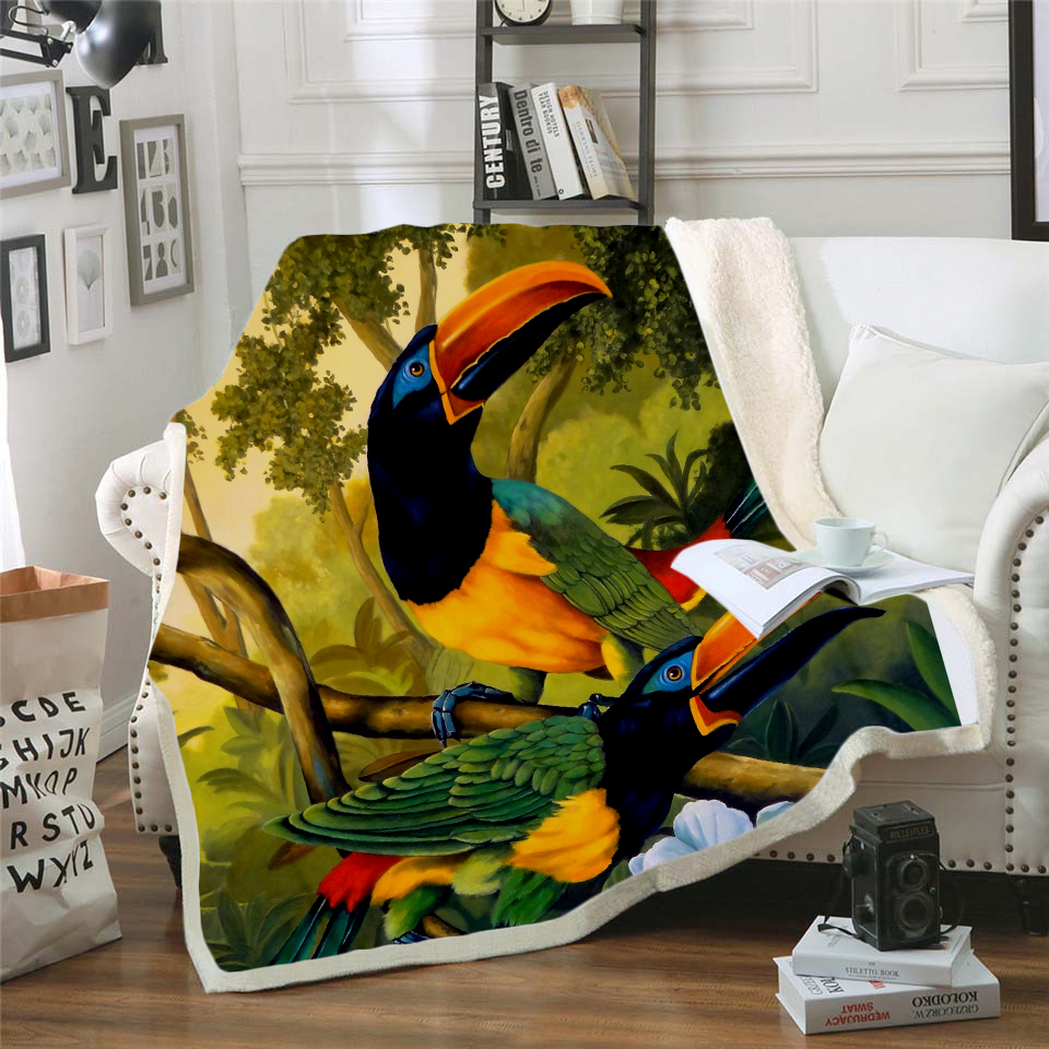 Plstar Cosmos colorful Parrot brid Blanket 3D print Sherpa on Bed Kids Girl Flower Home Textiles Dreamlike style-4