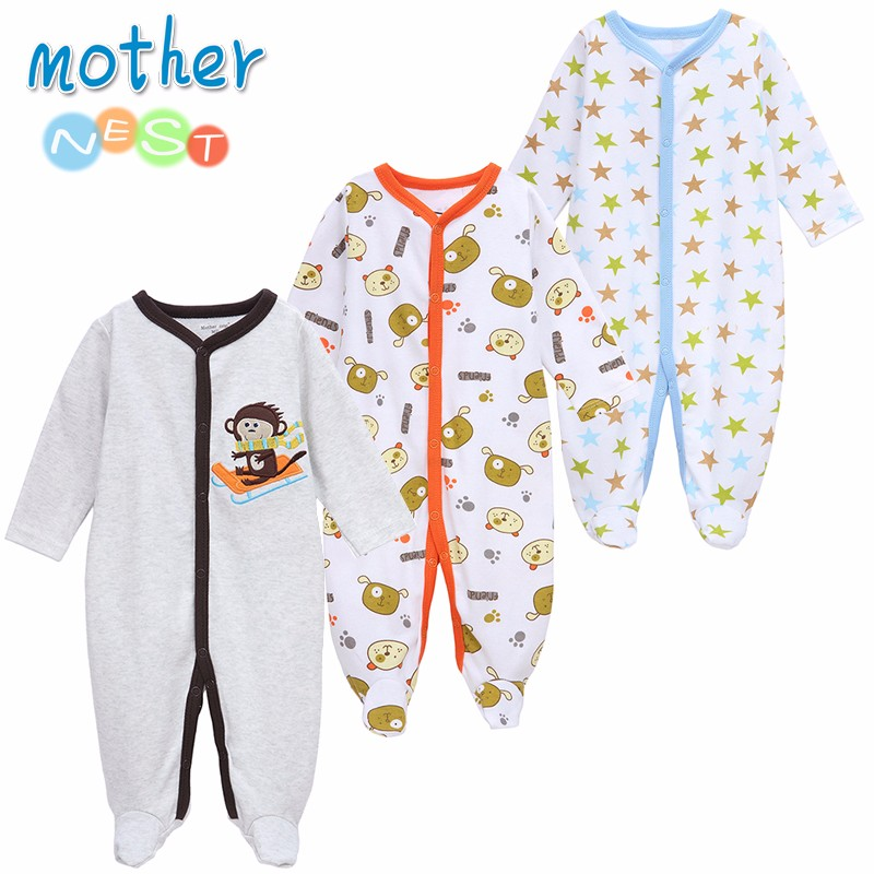 Mother Nest 3 PCSLOT Baby Boy Clothes Comfortable Baby Rompers Winter Thick Climbing Clothes Newborn 0-12 M Baby Clothes Unisex (3)