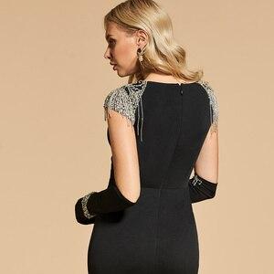 Image 5 - Dressv black evening dress scoop neck mermaid short sleeves floor length beading wedding party formal dress evening dresses