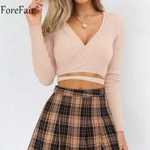 Forefair V Neck Long Sleeve Shirt Tops Women Ribbed Crop Tops Lace Up Sexy Shirt Female Casual Pullovers 2018 Autumn Ladies Tops