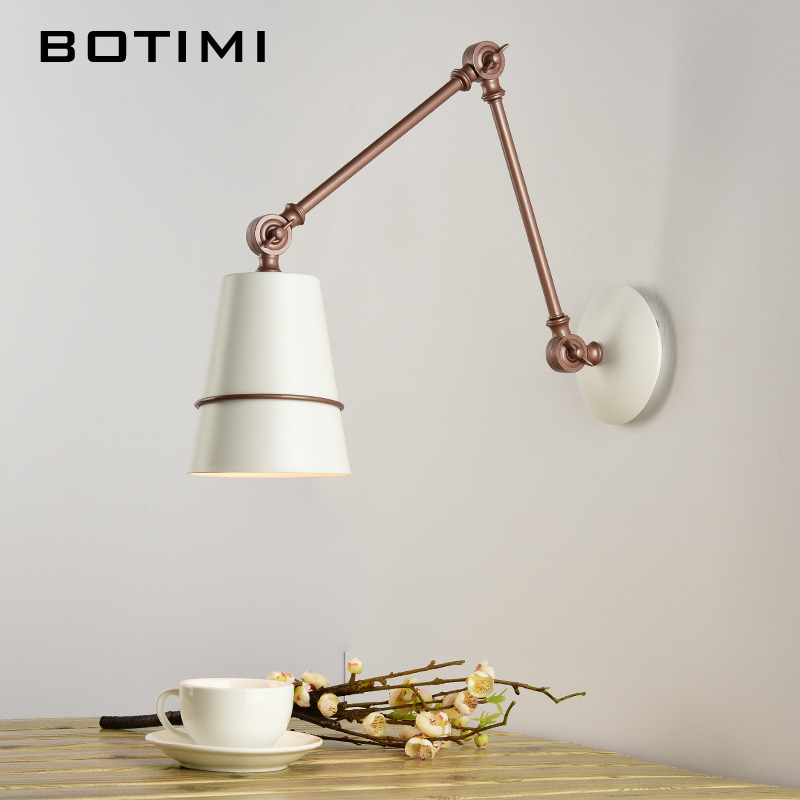 BOTIMI Adjustable Wall Lamp With Switch LED Wall Sconce White Metal Wall light Bedside Lamps For Home Reading Lighting Fixtures