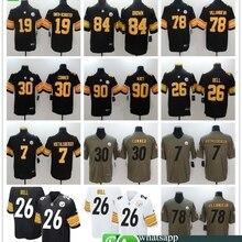 658e4a135e3 Mens Pittsburgh Antonio Brown JuJu Smith-Schuster Ben Roethlisberger T.J.  Watt Alejandro Villanueva Le Veon Bell jersey