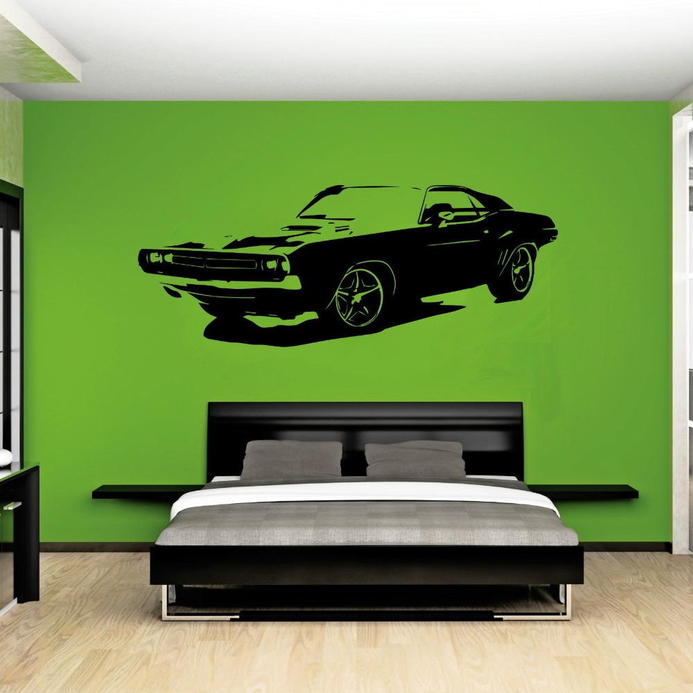 Removable Large Car Dodge Challenger Bedroom Wall Sticker Art Home Decor Vinyl Sticker Living Room Wall Paper A-102