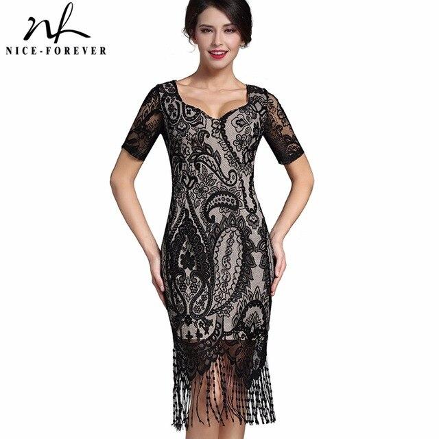 Ницца-навсегда Sexy Кружева Кисточкой Старинные Dress V-образным Вырезом Стильный Коротким Рукавом Молния Клуб носить Случайный Карандаш Офис Женщина dress B337