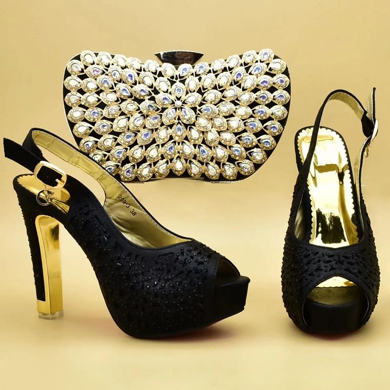 Mujeres Negro Imitación naranja Alto A Decorado Las Zapatos azul Juego Cielo Bolsos Tacón Con Y oro Encuentro Conjunto De Italia Últimas Italiano Diamantes qZwUwf5