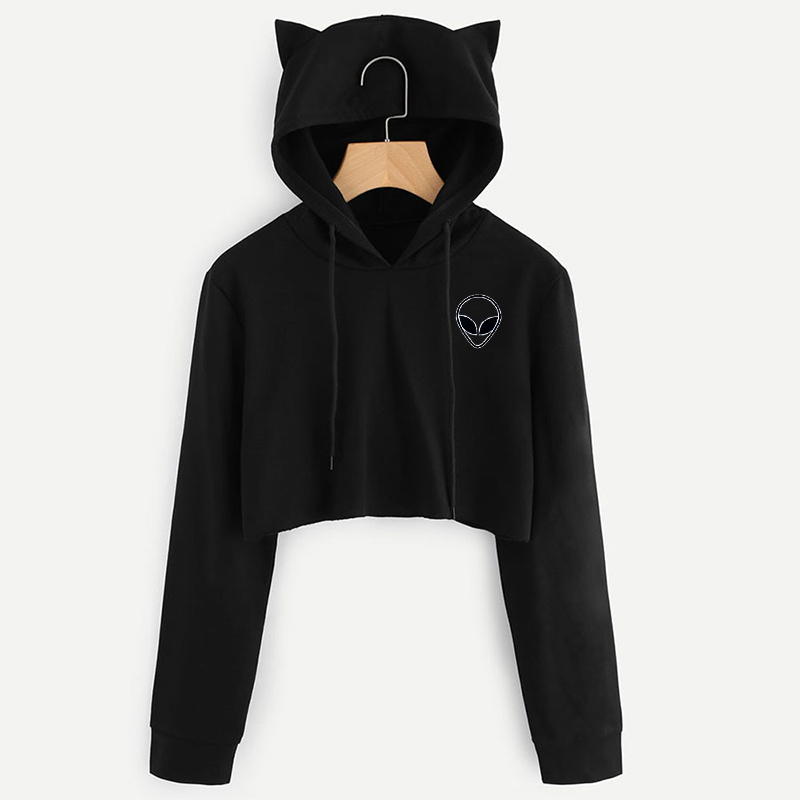 Kpop Harajuku Kawaii Aliens Printing Long Sleeves Hoodies Sweatshirts Women Fashion Cute Cropped Hoodie Female Casual Plus Size