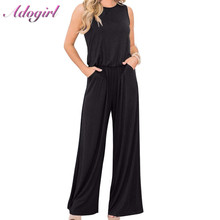 Casual Solid Off Shoulder Wide Leg Summer Jumpsuit Women Sexy Sleeveless O Neck Loose Office Lady Romper Streetwear Overalls