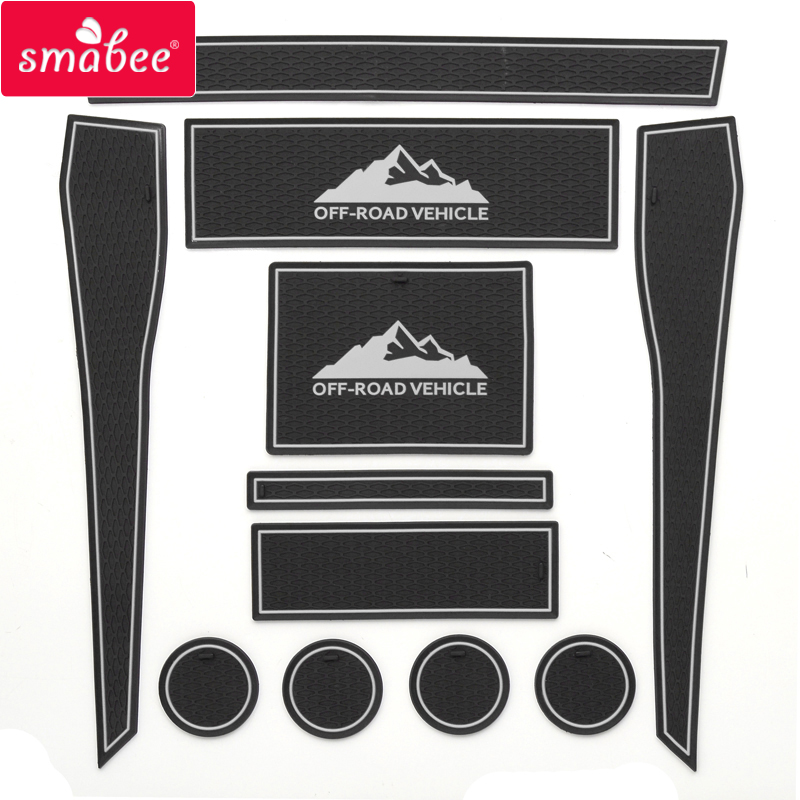 smabee Gate slot Mats For Ford F-150 RAPTOR 2015-2017 Interior Door Pad/Cup Non-slip mats 11pcs RED BLUE WHITE BLACK