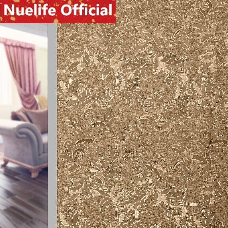 60x200cm Gold leaf tree rattan pattern frosted glass film living room kitchen bathroom opaque balcony Windows door film N4