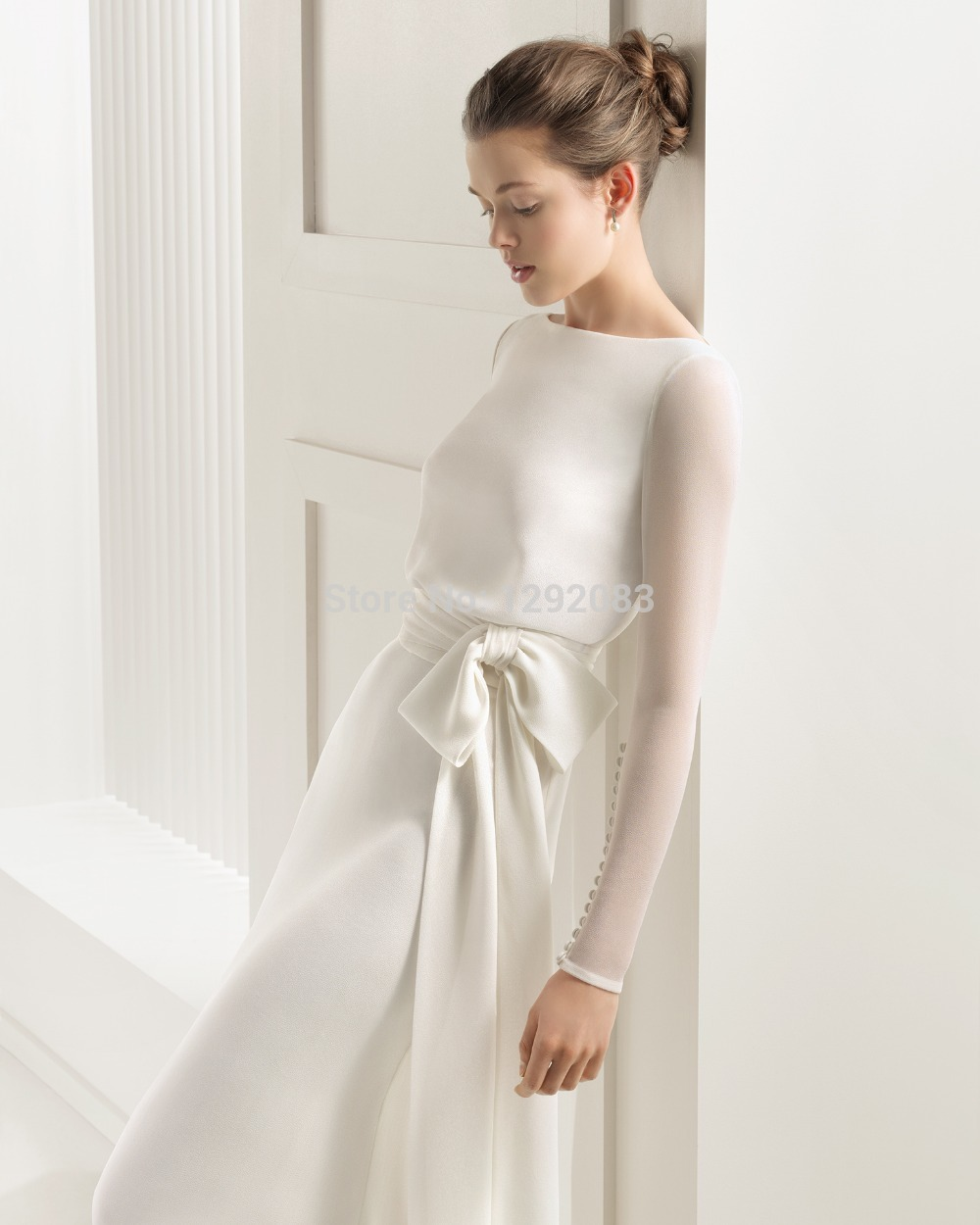 2015 Plain Long Sleeves A Line Chiffon Ruched Waist with Bow Sheer ...