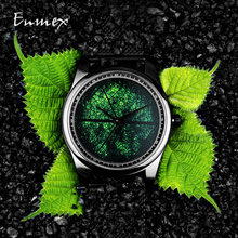 2019 Enmex עיצוב שעוני יד 3D עלה וריד creative עיצוב נירוסטה שמן ציור פנים שעון האופנה קוורץ שעון שעון