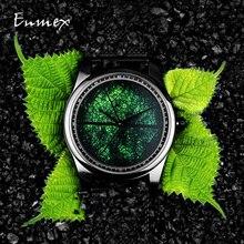 2019 Enmex تصميم ساعة اليد ثلاثية الأبعاد ورقة الوريد التصميم الإبداعي الفولاذ المقاوم للصدأ النفط اللوحة وجه ساعة الموضة ساعة كوارتز ساعة
