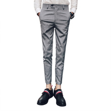 British Retro Style Men's Suits Pants Fashion Business Formal Office Suit Trousers Man Slim Fit Gray and Black Classic Pants